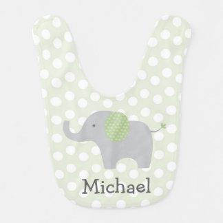 Green Elephant Baby Bib