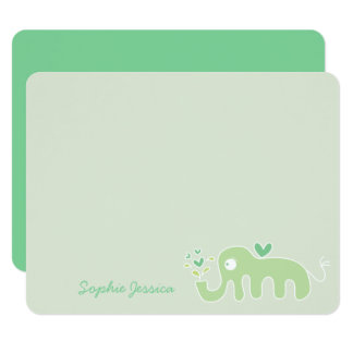 Green Elephant Baby Shower Boy Girl Thank You Card