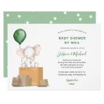 Green Elephant Baby Shower by Mail invitation