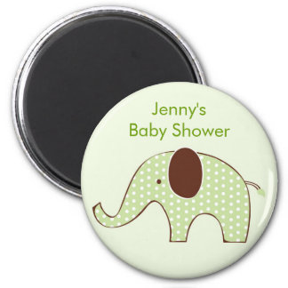 Green Elephant Baby Shower Favor Magnets