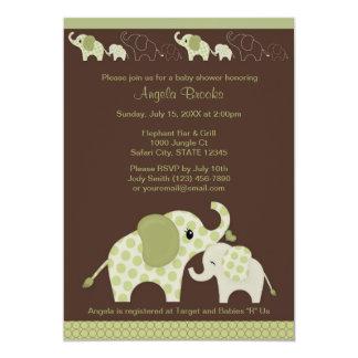 Green ELEPHANT Baby Shower Invitation CE-G Kiss