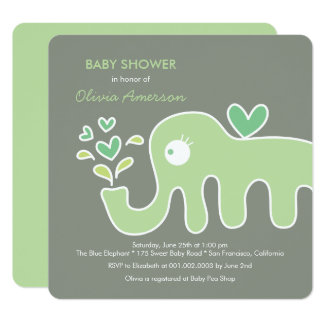 Green Elephant Gender Neutral Baby Shower Invite