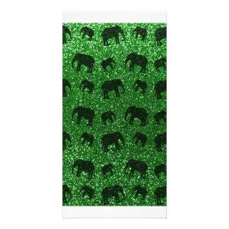 Green elephant glitter pattern photo cards