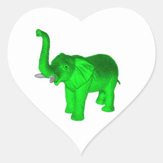 Green Elephant Heart Sticker