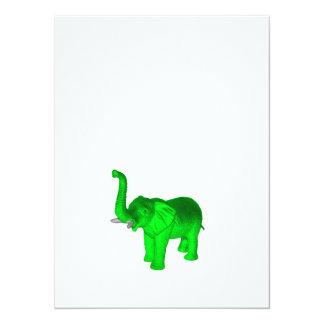 Green Elephant 5.5x7.5 Paper Invitation Card