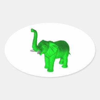 Green Elephant Oval Sticker