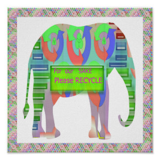 Green Elephant : Please RECYCLE Poster