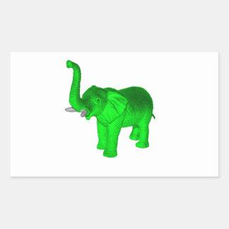 Green Elephant Rectangular Sticker