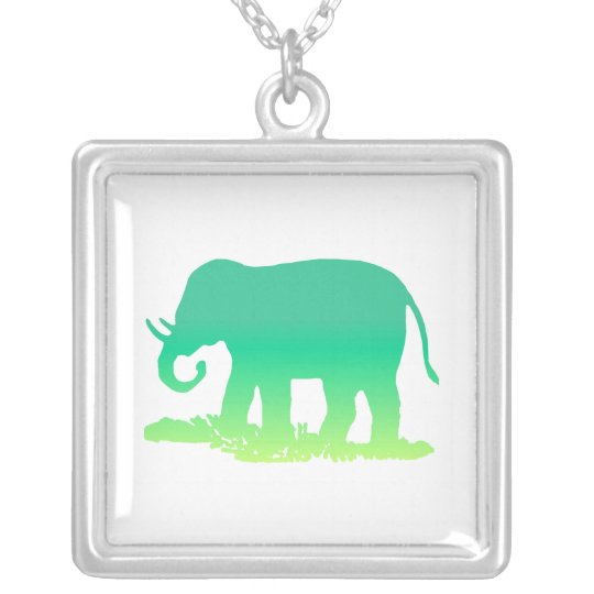Green Elephant Silver Plated Necklace