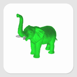 Green Elephant Square Sticker