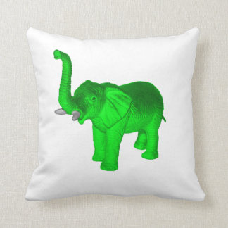 Green Elephant Throw Pillow