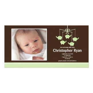 Green Elephants Baby Boy Birth Annoucement Card