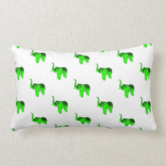 Green Elephants Pattern Lumbar Pillow