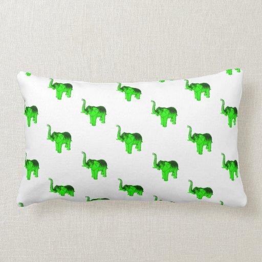 Green Elephants Pattern Throw Pillow