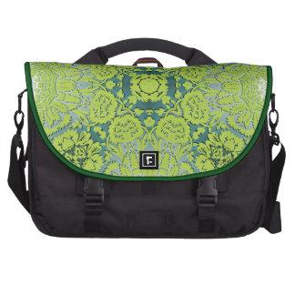 Green Embossed Damask Pattern Laptop Bags