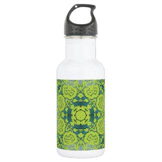 Green Embossed Damask Pattern Stainless Steel Water Bottle