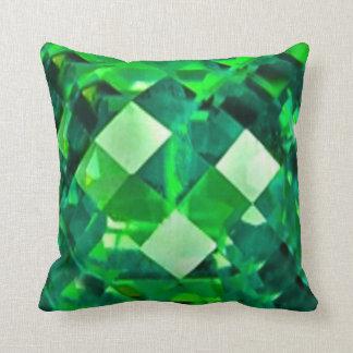 Green Emerald Birthstone Gem Throw Pillow