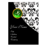 GREEN EMERALD  DAMASK MONOGRAM LARGE BUSINESS CARDS (Pack OF 100)