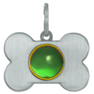 GREEN EMERALD GEM STONE PET NAME TAG