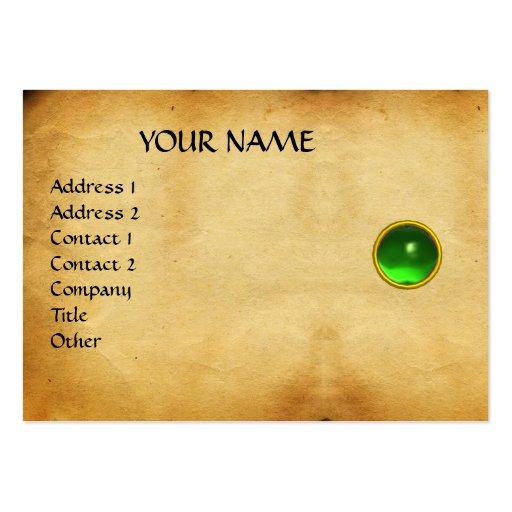 GREEN EMERALD MON ,GREY AGATA  parchment, Business Card