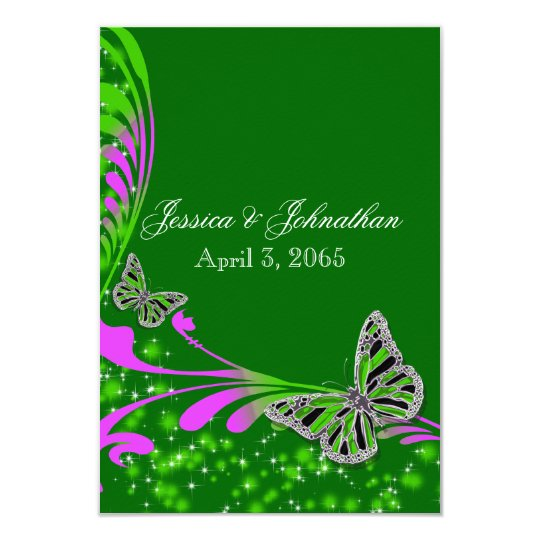 Green emerald pink butterfly sparkle card