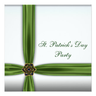 Green Emerald Ribbon St. Patricks Day Party Personalized Announcements