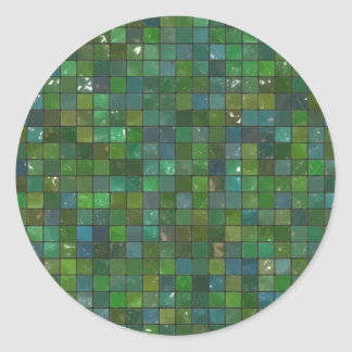 Green Emerald Shiny Glass Tiles Texture Background Classic Round Sticker