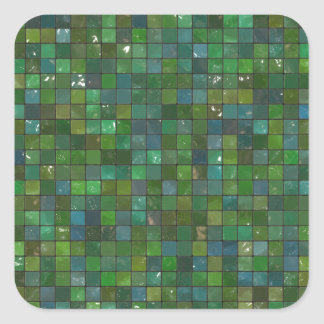 Green Emerald Shiny Glass Tiles Texture Background Square Sticker