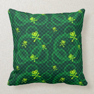 Green Emo Pattern With Circles Throw Pillows