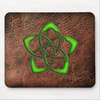 Green enameled celtic flower on leather mouse pad