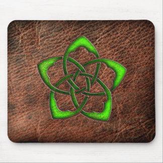 Green enameled celtic flower on leather mousepad