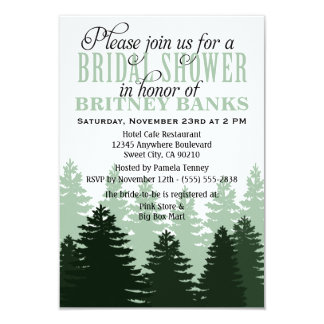 Green Enchanted Forest Bridal Shower Invitations