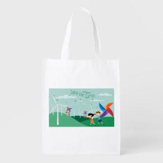 Green energy for children reusable grocery bag