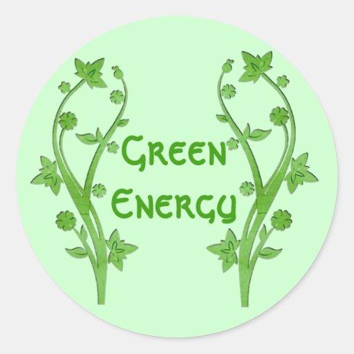 Green Energy Round Stickers