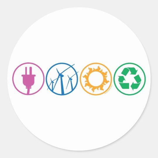 Green Energy Symbols Classic Round Sticker