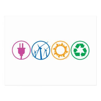 Green Energy Symbols Postcard