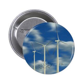 Green Energy Wind Turbine 2 Inch Round Button