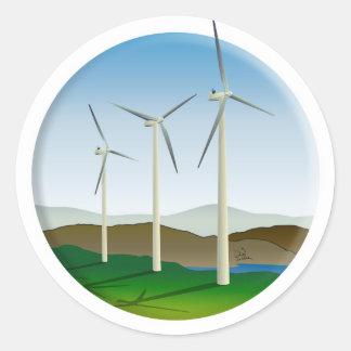 Green Energy Wind Turbine Classic Round Sticker