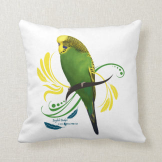 Green English Budgie Throw Pillow