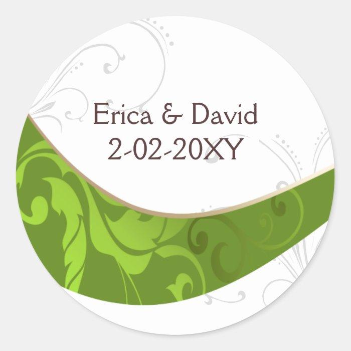 green envelope seal classic round sticker