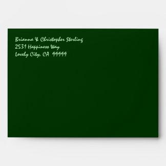 Green Envelopes Lime and Hunter Green Damask