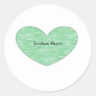 Green Envious Heart Classic Round Sticker