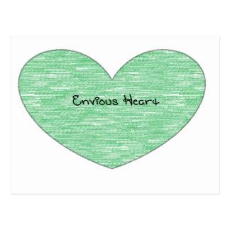 Green Envious Heart Postcard