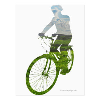 green, environmentally friendly transport postcard