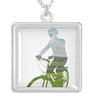 green, environmentally friendly transport silver plated necklace