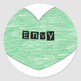 Green Envy Heart Classic Round Sticker