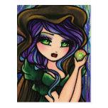 Green Envy Magic Forest Fantasy Art Girl Post Cards