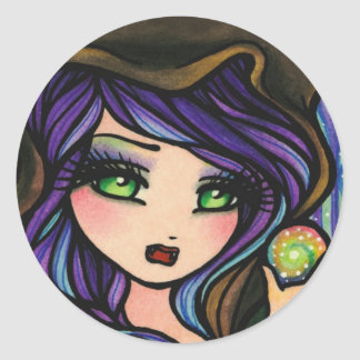 Green Envy Magic Forest Girl Fantasy Classic Round Sticker