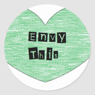 Green Envy This Heart Classic Round Sticker