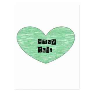 Green Envy This Heart Postcard